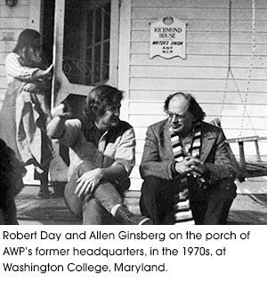 Robert Day and Allen Ginsberg on the porch of AWP former headquarters, in the 1970s,  at Washington College, Maryland.