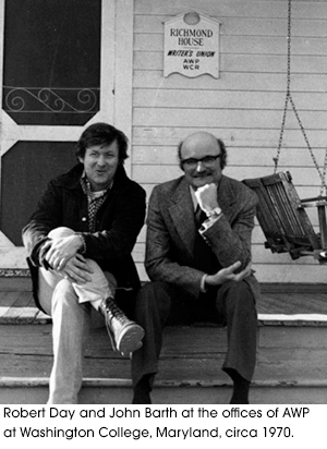 Robert Day and John Barth at the offices of AWP at Washington College, Maryland, circa 1970.