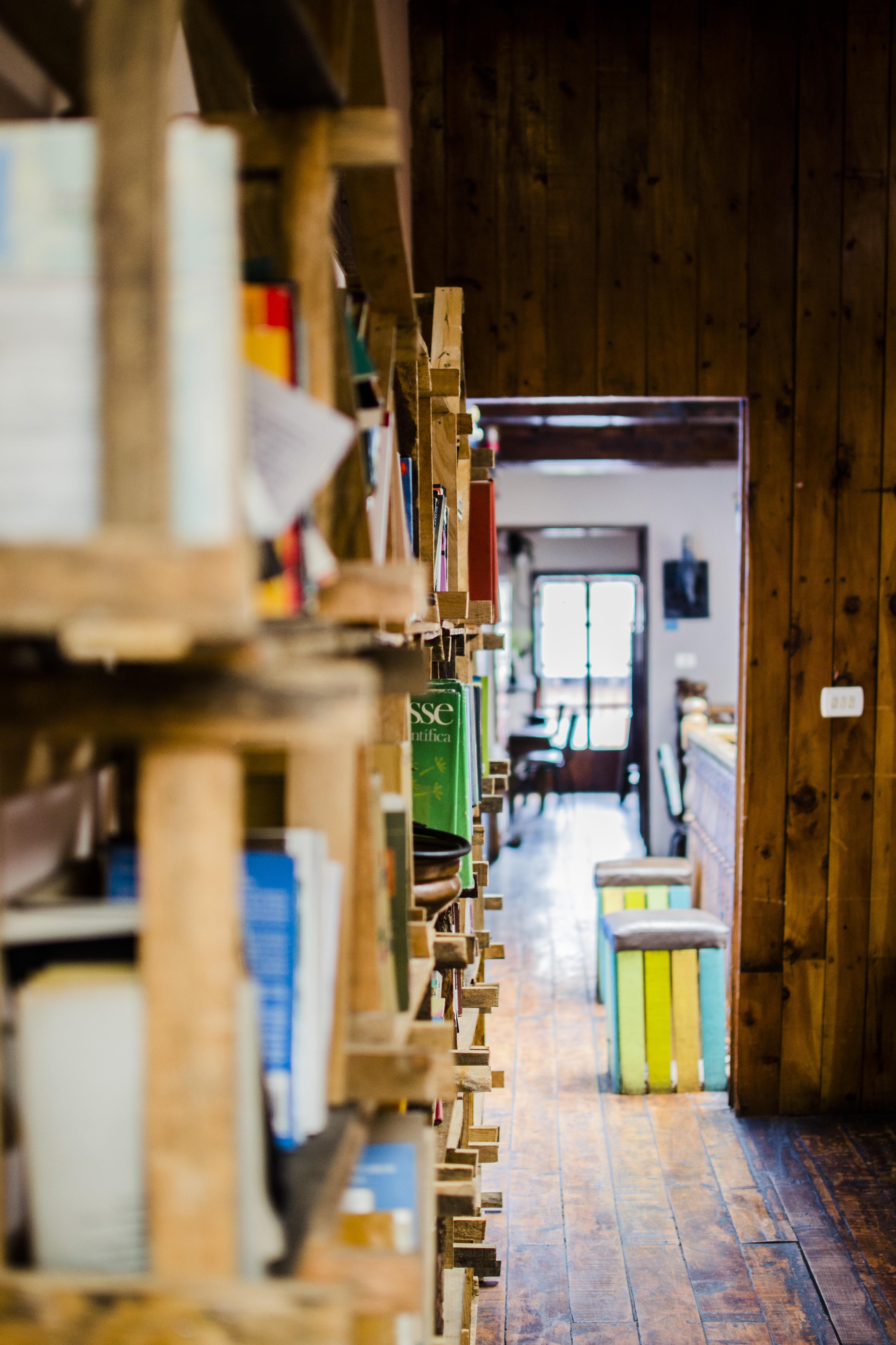 Bookshelf and hallway
