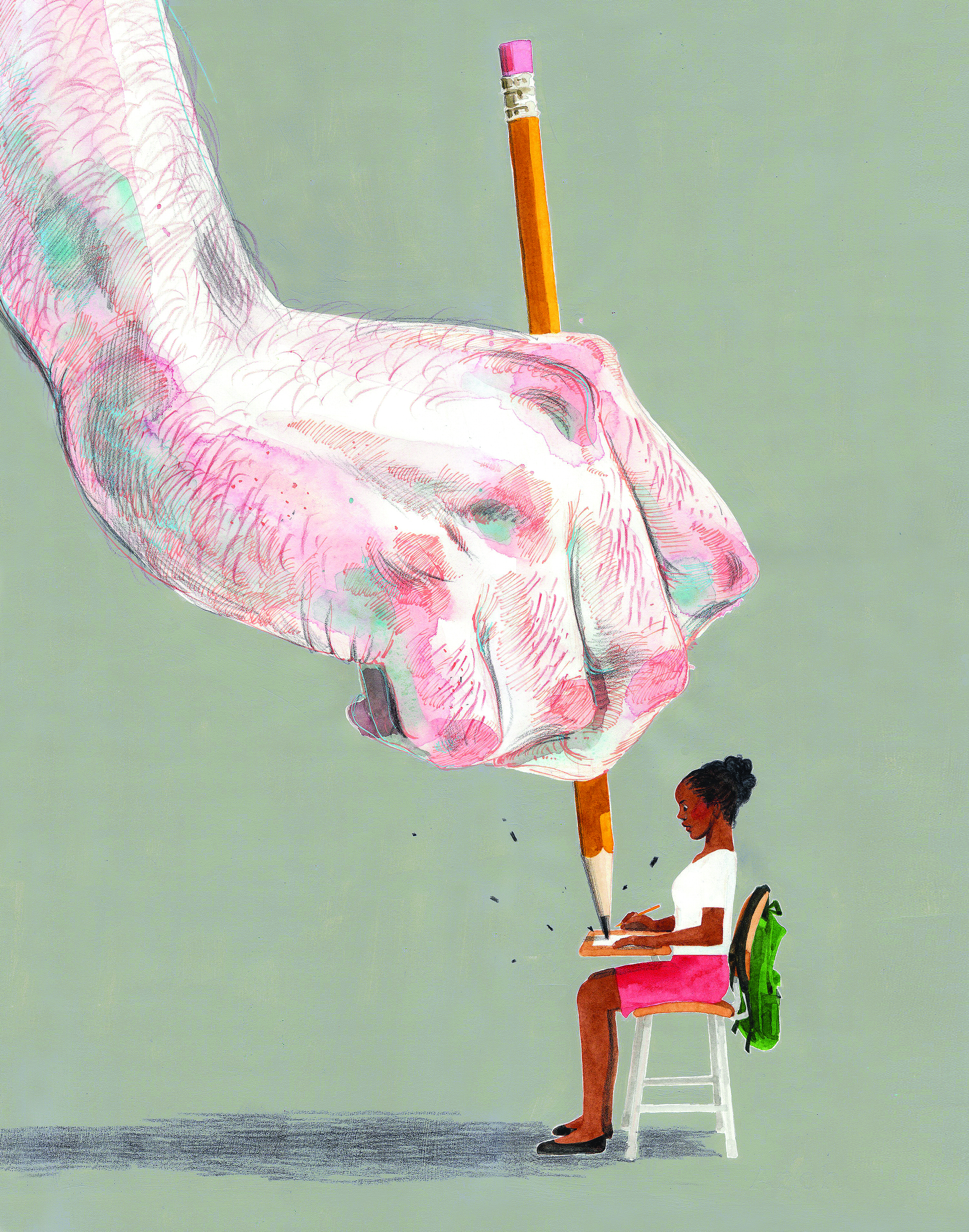 Illustration of a young, African-American girl at a desk and a giant white hand with a pencil writing for her instead of letting her write for herself.