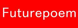 Futurepoem Logo (white text on red background)