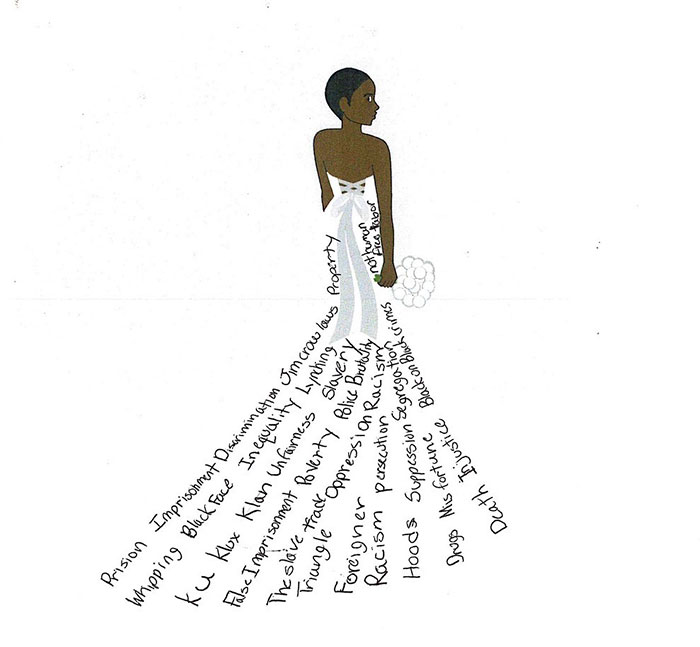 A drawing of a woman in a dress made of many words